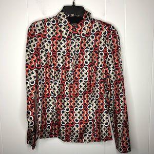 Ann Taylor pop over blouse size 10. Circle pattern